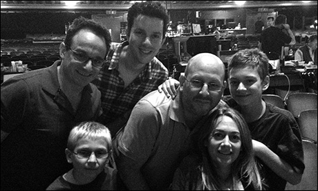 We've moved into tech.  Seen here, composer/lyricists Michael Weiner and Alan Zachary watch tech in the theater with Warner Brothers Theater Ventures Producer Mark Kaufman and his lovely family.