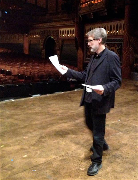 Before the preview that same night, Gregg Edelman going over changes to the script on stage. In 3 weeks of previews this is a daily occurrence. It's hard to keep track of all the changes for each night.