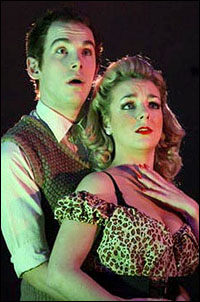 Paul Keating and Sheridan Smith in <i>Little Shop of Horrors</i>.