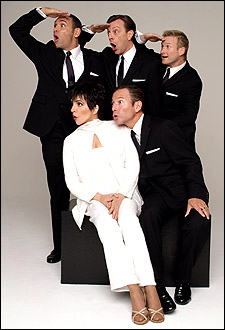 (back) Tiger Martina, Jim Caruso and Johnny Rodgers with (front) Liza Minnelli and Cortes Alexander
