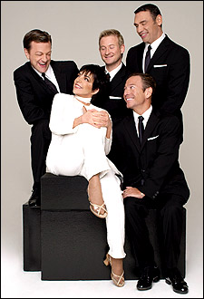 Liza Minnelli with (clockwise from left) Jim Caruso, Johnny Rodgers, Tiger Martina and Cortes Alexander