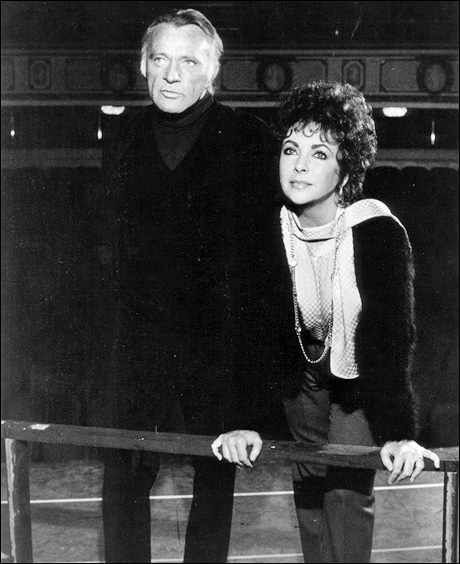 Richard Burton and Elizabeth Taylor in rehearsal for Private Lives, 1983.