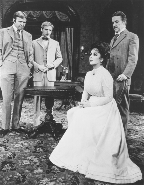 Joe Ponazecki, Dennis Christopher, Elizabeth Taylor and Anthony Zerbe in The Little Foxes, 1981.