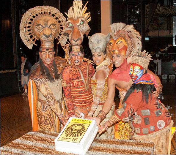 Alton Fitzgerald White (Mufasa), Thom Christopher Warren (Scar at that performance), Chaunteé  Schuler (Nala), Joel Karie (Simba at that performance) and Tshidi Manye (Rafiki)
