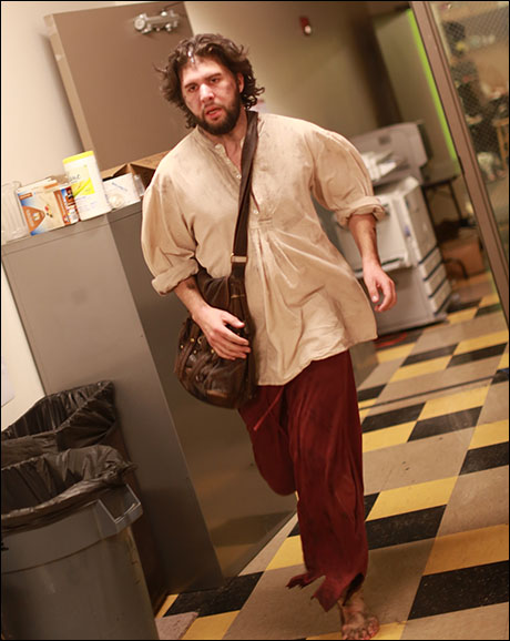 Louis Hobson (Jean Valjean) rushes into his dressing room after the Prologue…