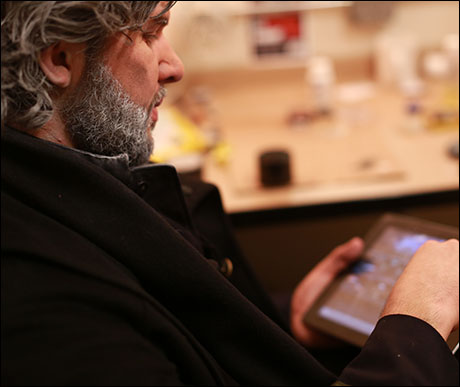 Old Valjean (Louis Hobson) embraces new technology.