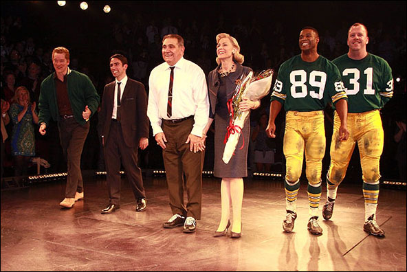 Bill Dawes, Keith Nobbs, Dan Lauria, Judith Light, Robert Christopher Riley and Chris Sullivan on opening night of the Broadway production Lombardi.