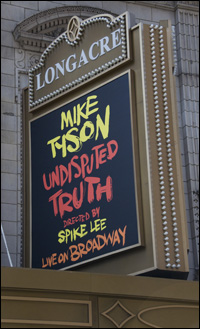 Current marquee at the Longacre Theatre