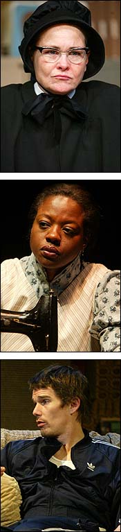 From Top: Cherry Jones in <i>Doubt</I>,Viola Davis in  <I>Intimate Apparel</I> and Ethan Hawke in <I>Hurlyburly</I>