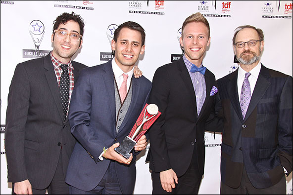 Peter Duchan, Benj Pasek, Justin Paul and David Hyde Pierce
