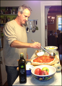 Mark Lotito makes pizza for housebound family and friends in Brooklyn.
