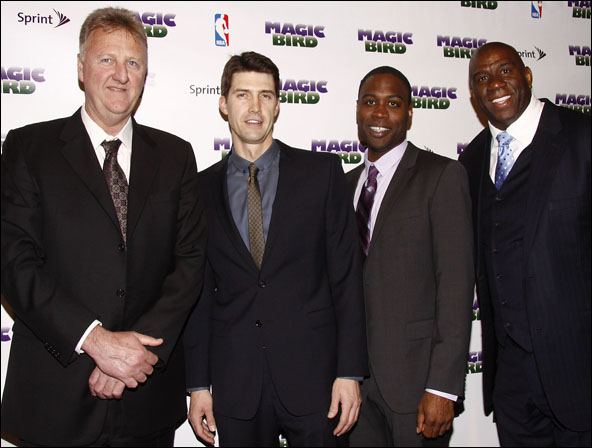 Larry Bird, Tug Coker, Kevin Daniels and Magic Johnson