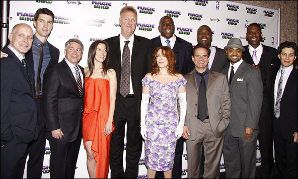 Larry Bird and Magic Johnson with cast and creative team