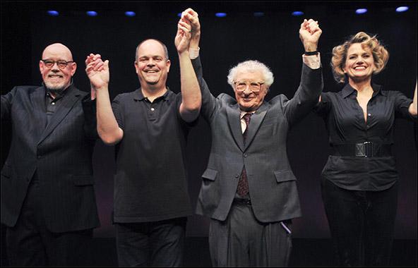 Conrad John Schuck, Brad Oscar, composer Sheldon Harnick and Cady Huffman