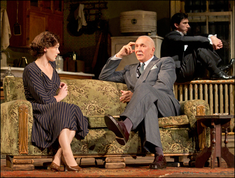 Virginia Kull, Frank Langella and Adam Driver in the 2011 Broadway production Man and Boy.