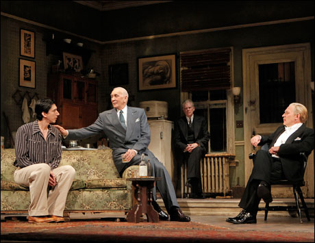 Adam Driver, Frank Langella, Michael Siberry and Zach Grenier in the 2011 Broadway production Man and Boy.