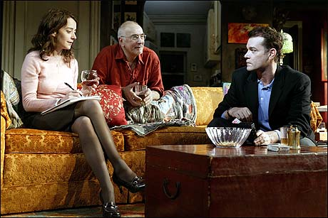 Jane Adams, Frank Langella, and Ray Liotta in the 2004 Broadway production Match.