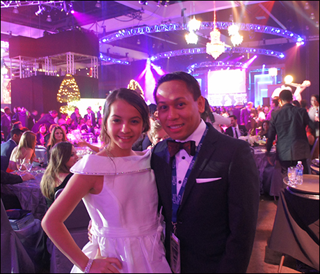 Isabela Moner (Evita) and Jhett Tolentino (Matilda album associate producer) at the Grammy after party.