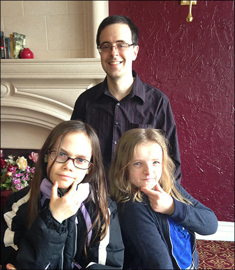 Oona Laurence and Milly Shapiro with album producer Van Dean (of Broadway Records)