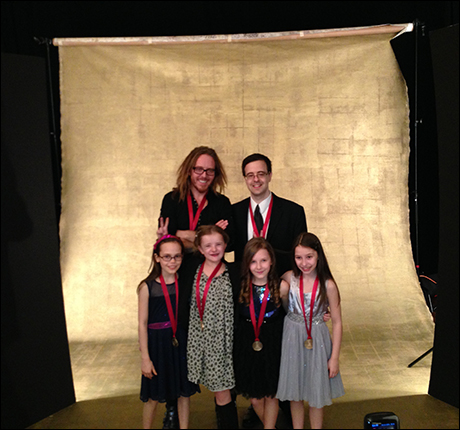 Front: The Matildas (Oona Laurence, Milly Shapiro, Sophia Gennusa and Bailey Ryon) with their Grammy nominee medallions Back: Tim Minchin (composer/lyricist of Matilda) and album producer Van Dean (of Broadway Records)