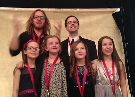Posing with the Grammy nominee medallions... The Matildas (Oona Laurence, Milly Shapiro, Sophia Gennusa and Bailey Ryon) with Tim Minchin and Van Dean