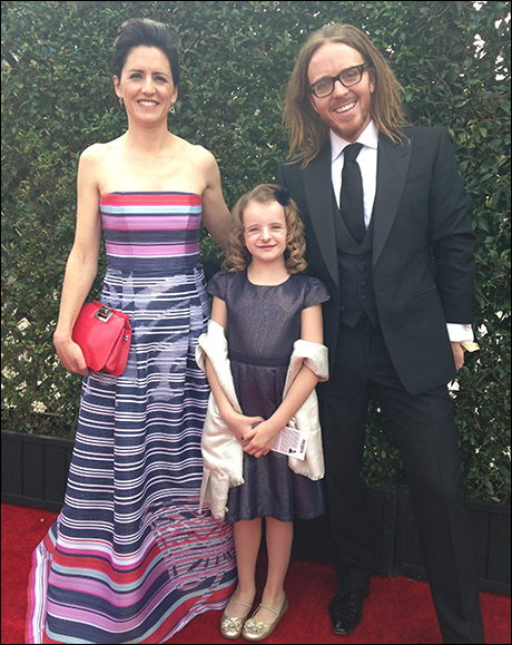 Sarah Minchin, Milly Shapiro and Tim Minchin on the Grammy red carpet