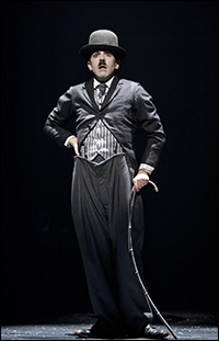 Rob McClure in <i>Chaplin</i>, one of the Broadway shows canceled for Oct. 30.