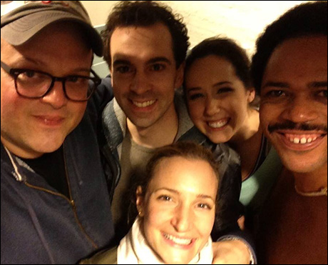 Rob McClure and his wife Maggie Lakis pay a visit backstage to me, Scott Greer and Alex Keiper