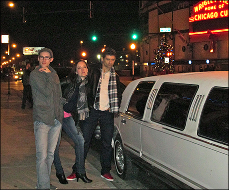 On our way to TJ and Dave's show, Matt, Tony and I try to pose in front of our Limo like we are Zoolander models. I think Tony wins the prize.