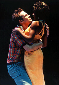 Chad Kimball and Montego Glover in <I>Memphis.</I>