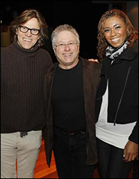 Simon Templeman, Alan Menken and Toks Olagundoye in the recording studio