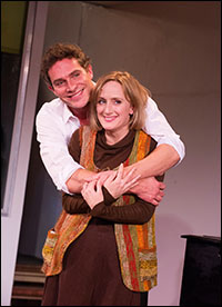 Mark Umbers and Jenna Russell in <i>Merrily We Roll Along</i>.