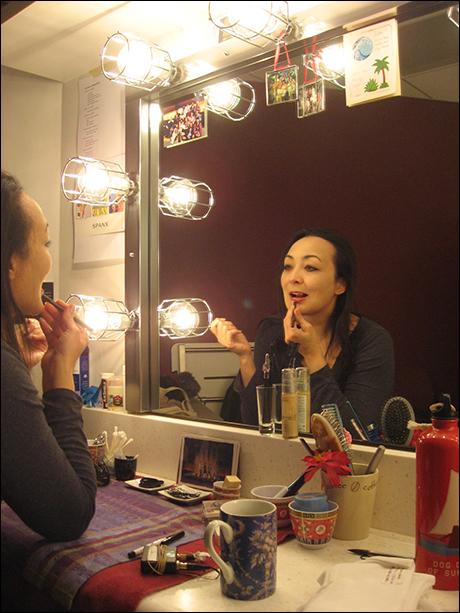 The stunning Lisa Tejero (Therapist) applies her waterproof makeup.