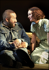 Chris O'Dowd and Leighton Meester in <i>Of Mice and Men</i>.