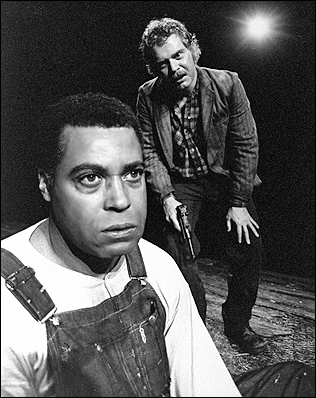 James Earl Jones and Kevin Conway in Of Mice and Men on Broadway, 1974