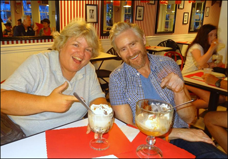 "My friend from Chicago, Michelle and I enjoy the famous Showplace Ice Cream Parlor (adjacent to the Surflight theatre). Ice cream concoctions are named after famous musicals. I ordered a ""Music Man"" because I like chocolate and peanut butter."