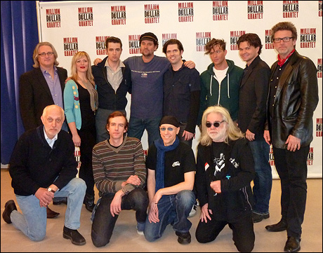 Back: Eric Schaeffer, Elizabeth Stanley, Eddie Clendening, Lance Guest, Robert Britton Lyons, Levi Kreis, Hunter Foster and Chuck Mead