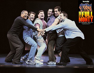 Larry Marshall, Will Chase, Daniel Stewart Sherman, Steven Skybell, Chris Diamantopoulos and Danny Gurwin in The Full Monty on Broadway