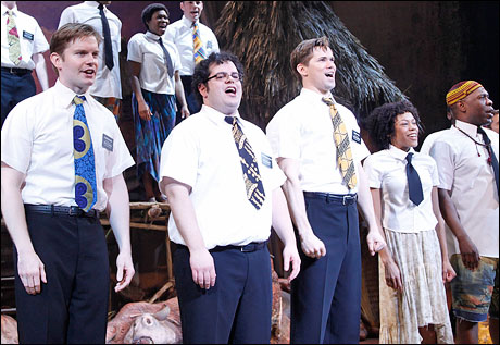 Rory O'Malley, Josh Gad, Andrew Rannells, Nikki M. James and Michael Potts