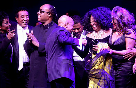 Gladys Knight, Smokey Robinson, Stevie Wonder, Berry Gordy, Ryan Shaw and two of the original Supremes: Diana Ross and Mary Wilson during the Motown opening night curtain call on April 14.