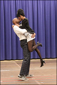 Brandon Victor Dixon and Valisia LeKae perform at a Feb. 7 press event.