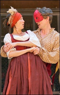 Eve Best and Charles Edwards in the Globe production of <i>Much Ado About Nothing</i>.
