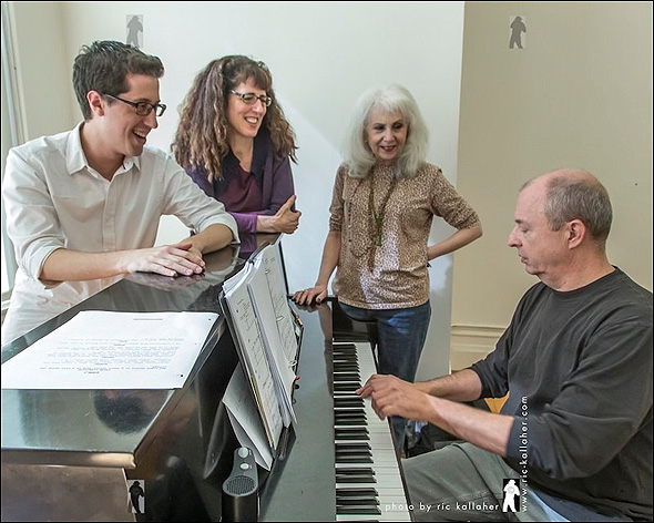 My Heart Is a Drum writers Phillip Palmer, Stacey Luftig and Jennie Redling around the piano with music director Joseph Church