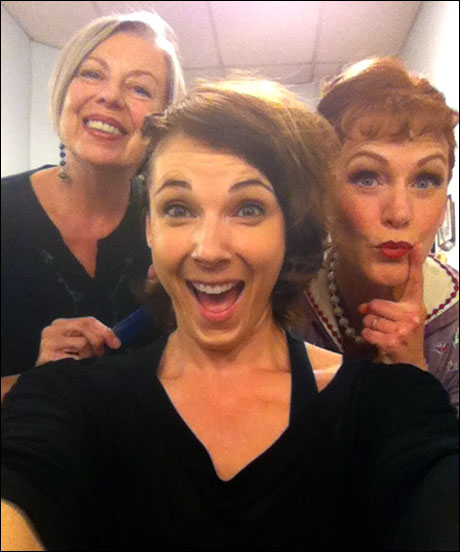 Mary Jones doing my pin curls! What a lovely woman and so gifted in Hair. Beth DeVries, playing Miss Weston, beside me.