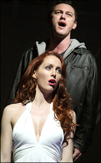 Siobhan Donaghy as Mimi and Luke Evans as Roger in London's <I>Rent</I> revival.