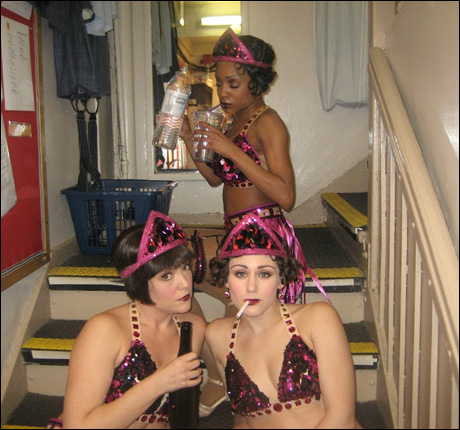 """Candice Woods, Cameron Adams and Stephanie Martignetti takin' a breather after """"Sweet and Low Down."""""""