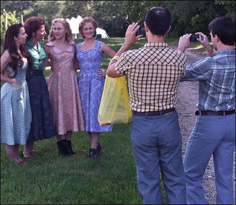 Photo call at the winery. Sarah Tranchina (Ensemble), Natalie Hill (Cleo), Eloise Kropp (Ensemble) and Mamie Parris (Rosabella)