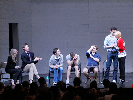 Blake Ross and Frank DiLella with Jim Parsons, Luke Macfarlane, Lee Pace, Wayne Alan Wilcox and Ellen Barkin