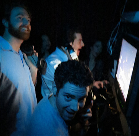 """Travis Taylor, Max Quinlan, and Ben Jacoby in the vocal booth for """"Take That Look Off Your Face."""""""