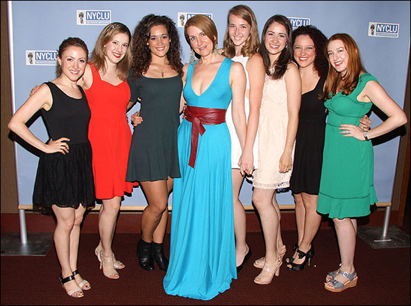 The cast of Volleygirls: Dana Steingold, Juliane Godfrey,  Gerianne Pérez, Susan Blackwell, Julia Knitel, Allison Strong, Jennifer C. Johnson and Allison Jill Posner
